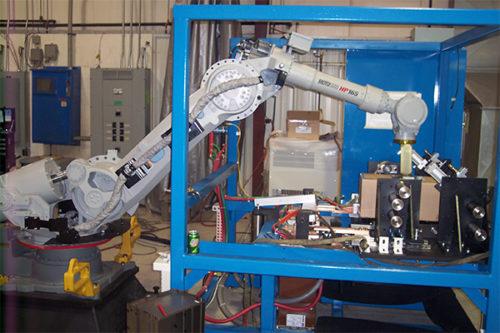 Robotics equipment on a shop floor